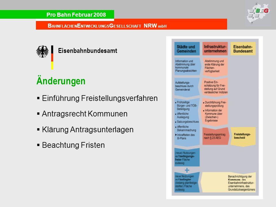 Pro Bahn Februar 2008 B AHNFLÄCHEN E NTWICKLUNGS G ESELLSCHAFT NRW mbH Eisenbahnbundesamt Änderungen Einführung Freistellungsverfahren Antragsrecht Ko