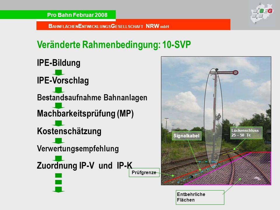 Pro Bahn Februar 2008 B AHNFLÄCHEN E NTWICKLUNGS G ESELLSCHAFT NRW mbH Lückenschluss 25 – 50 T Signalkabel Prüfgrenze Entbehrliche Flächen Bestandsauf