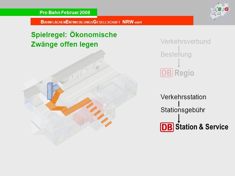 Pro Bahn Februar 2008 B AHNFLÄCHEN E NTWICKLUNGS G ESELLSCHAFT NRW mbH Regio Bestellung Verkehrsverbund Station & Service Stationsgebühr Verkehrsstation Spielregel: Ökonomische Zwänge offen legen