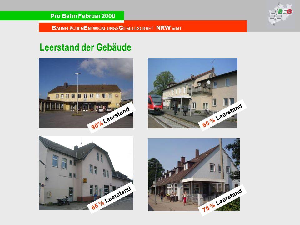Pro Bahn Februar 2008 B AHNFLÄCHEN E NTWICKLUNGS G ESELLSCHAFT NRW mbH Leerstand der Gebäude 90% Leerstand 65 % Leerstand 75 % Leerstand 85 % Leerstan