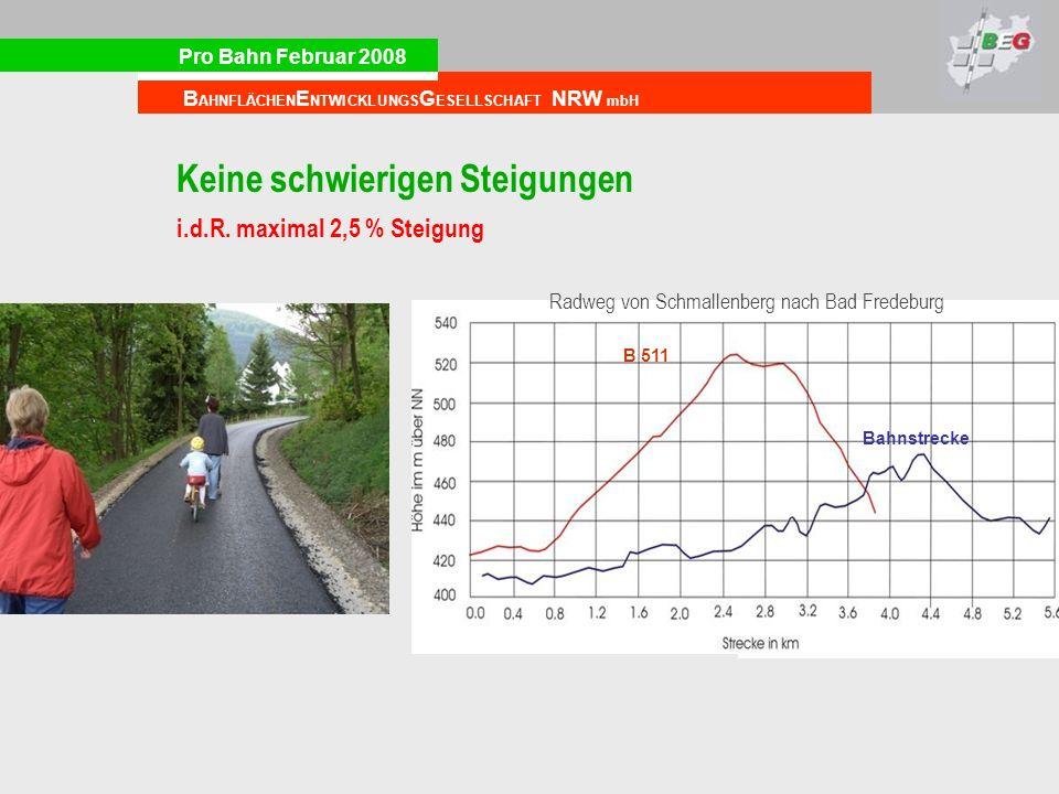 Pro Bahn Februar 2008 B AHNFLÄCHEN E NTWICKLUNGS G ESELLSCHAFT NRW mbH Keine schwierigen Steigungen i.d.R. maximal 2,5 % Steigung Radweg von Schmallen
