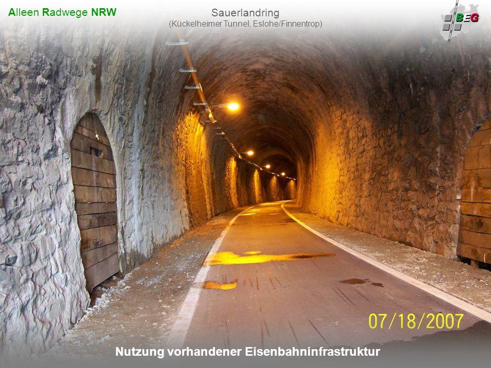 Pro Bahn Februar 2008 B AHNFLÄCHEN E NTWICKLUNGS G ESELLSCHAFT NRW mbH Nutzung vorhandener Eisenbahninfrastruktur Sauerlandring (Kückelheimer Tunnel, Eslohe/Finnentrop) Alleen Radwege NRW