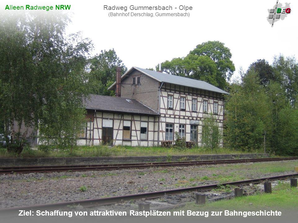 Pro Bahn Februar 2008 B AHNFLÄCHEN E NTWICKLUNGS G ESELLSCHAFT NRW mbH Ziel: Schaffung von attraktiven Rastplätzen mit Bezug zur Bahngeschichte Radweg