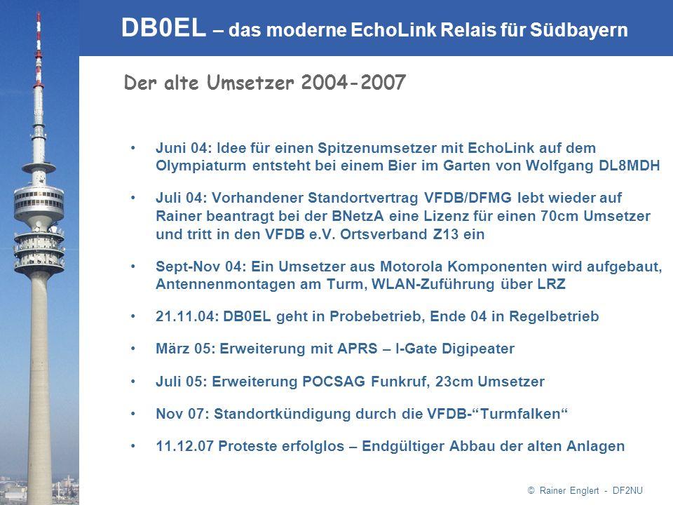 © Rainer Englert - DF2NU DB0EL – das moderne EchoLink Relais für Südbayern Der alte Umsetzer 2004-2007 Juni 04: Idee für einen Spitzenumsetzer mit Ech