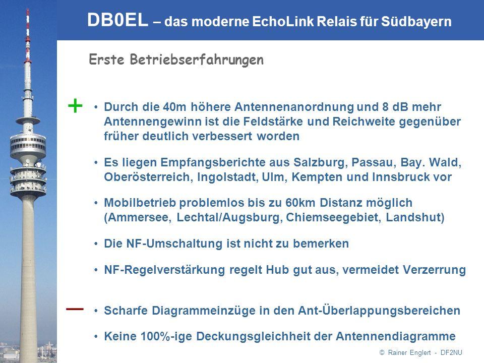 © Rainer Englert - DF2NU DB0EL – das moderne EchoLink Relais für Südbayern Erste Betriebserfahrungen Durch die 40m höhere Antennenanordnung und 8 dB m