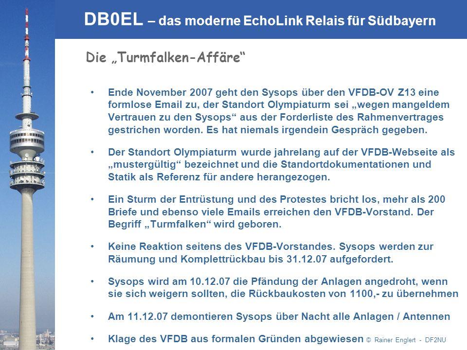© Rainer Englert - DF2NU DB0EL – das moderne EchoLink Relais für Südbayern Ende November 2007 geht den Sysops über den VFDB-OV Z13 eine formlose Email