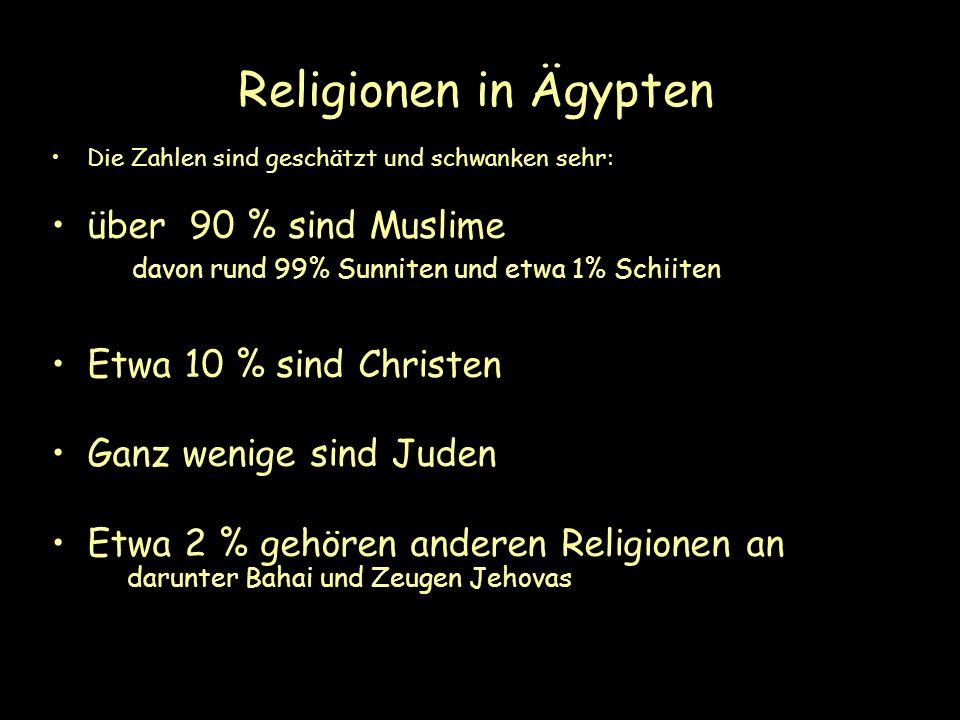 Religionen in Ägypten Die Zahlen sind geschätzt und schwanken sehr: über 90 % sind Muslime davon rund 99% Sunniten und etwa 1% Schiiten Etwa 10 % sind