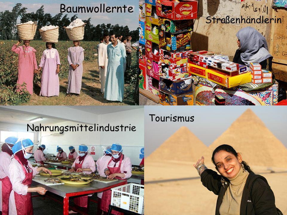 Auf dem Lande: knapp die Hälfte aller Frauen Anteil der Analphabeten unter den Frauen : Baumwollernte Nahrungsmittelindustrie Straßenhändlerin Tourism