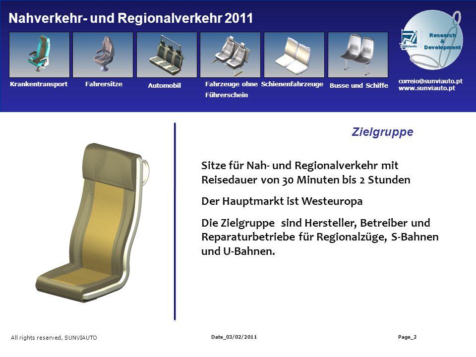 Sitze für Nah- und Regionalverkehr mit Reisedauer von 30 Minuten bis 2 Stunden Der Hauptmarkt ist Westeuropa Die Zielgruppe sind Hersteller, Betreiber