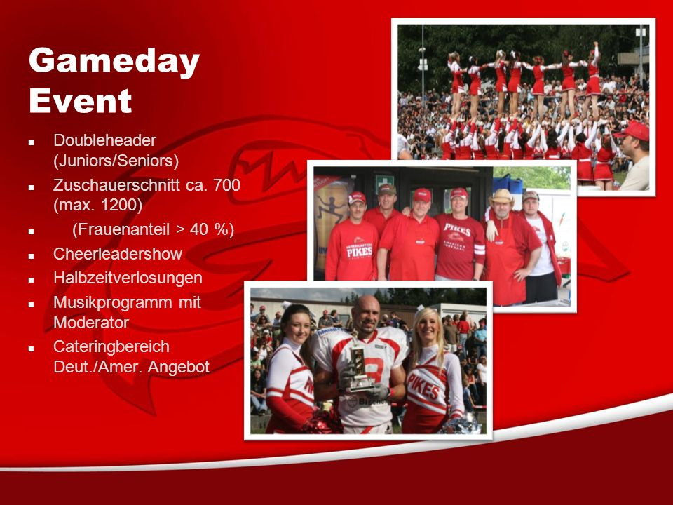 Gameday Event Doubleheader (Juniors/Seniors) Zuschauerschnitt ca.
