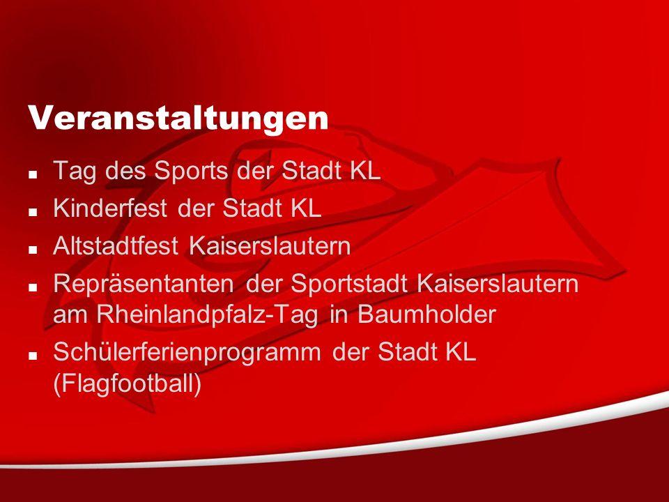 Veranstaltungen Tag des Sports der Stadt KL Kinderfest der Stadt KL Altstadtfest Kaiserslautern Repräsentanten der Sportstadt Kaiserslautern am Rheinlandpfalz-Tag in Baumholder Schülerferienprogramm der Stadt KL (Flagfootball)