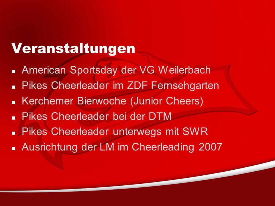 Veranstaltungen American Sportsday der VG Weilerbach Pikes Cheerleader im ZDF Fernsehgarten Kerchemer Bierwoche (Junior Cheers) Pikes Cheerleader bei der DTM Pikes Cheerleader unterwegs mit SWR Ausrichtung der LM im Cheerleading 2007