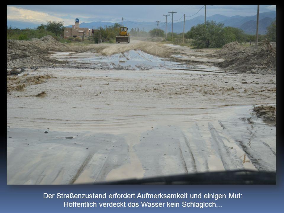 Der Straßenzustand erfordert Aufmerksamkeit und einigen Mut: Hoffentlich verdeckt das Wasser kein Schlagloch...