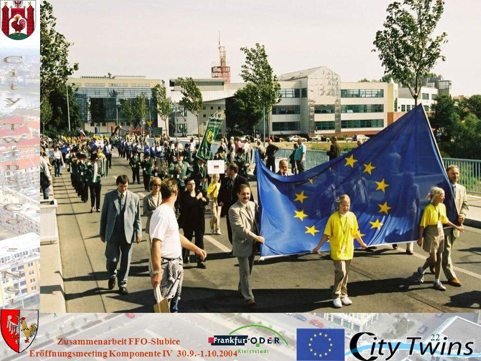 22 Eröffnungsmeeting Komponente IV 30.9.-1.10.2004 Zusammenarbeit FFO-Slubice