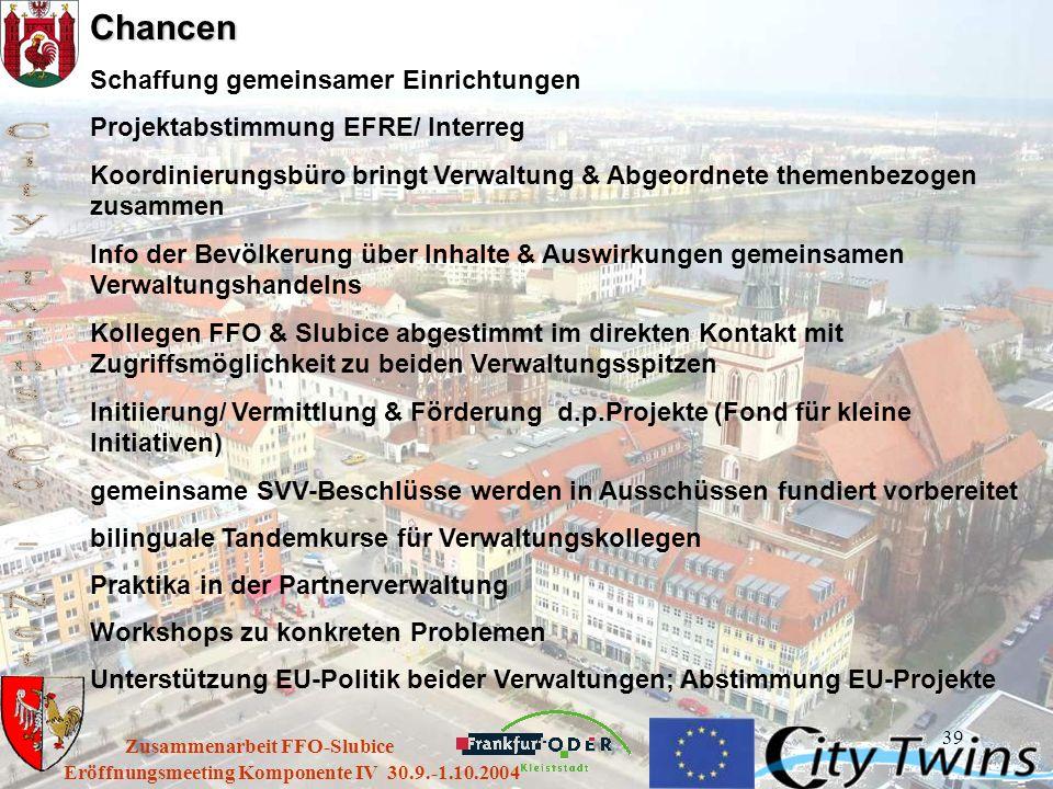 39 Eröffnungsmeeting Komponente IV 30.9.-1.10.2004 Zusammenarbeit FFO-SlubiceChancen Schaffung gemeinsamer Einrichtungen Projektabstimmung EFRE/ Inter