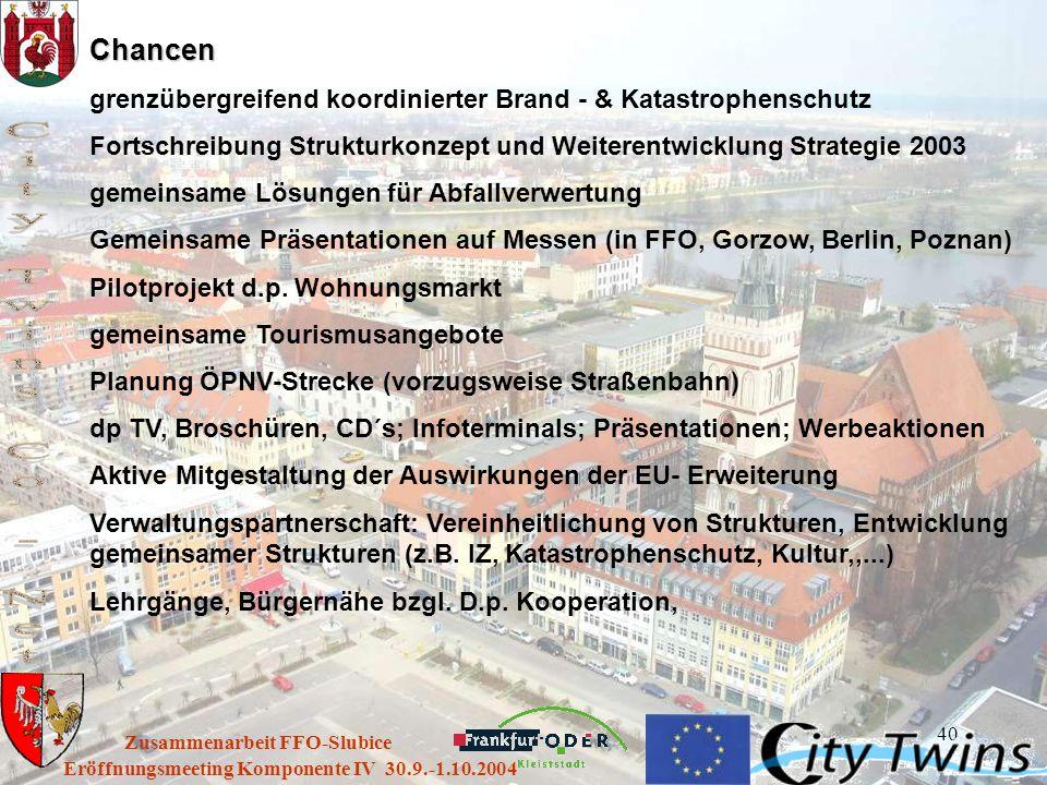 40 Eröffnungsmeeting Komponente IV 30.9.-1.10.2004 Zusammenarbeit FFO-Slubice Chancen grenzübergreifend koordinierter Brand - & Katastrophenschutz For