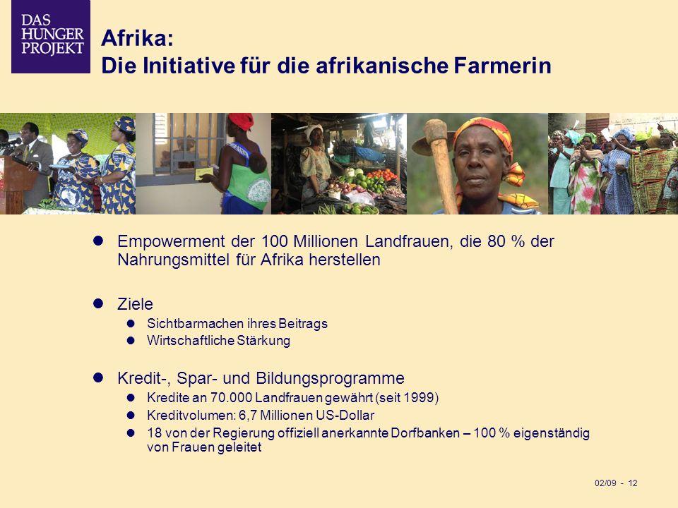 02/09 - 12 Afrika: Die Initiative für die afrikanische Farmerin Empowerment der 100 Millionen Landfrauen, die 80 % der Nahrungsmittel für Afrika herst