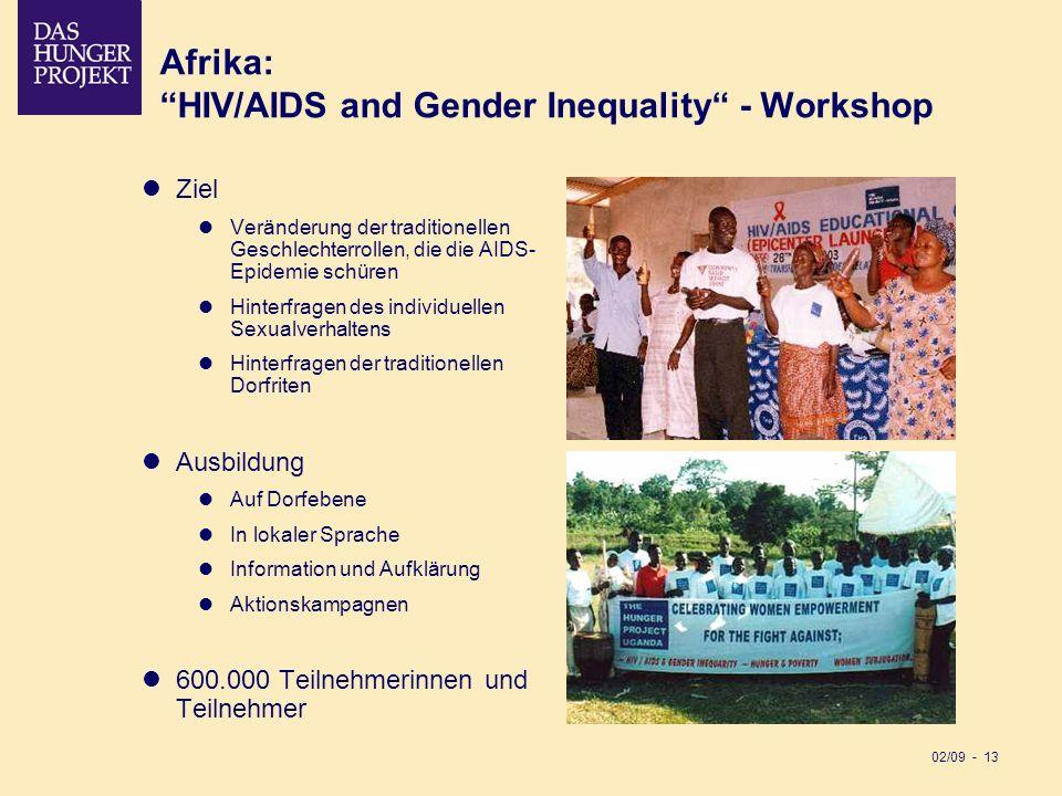 02/09 - 13 Afrika:HIV/AIDS and Gender Inequality - Workshop Ziel Veränderung der traditionellen Geschlechterrollen, die die AIDS- Epidemie schüren Hin