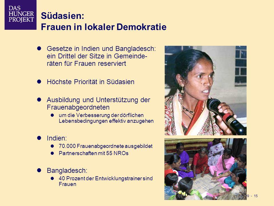 02/09 - 15 Südasien: Frauen in lokaler Demokratie Gesetze in Indien und Bangladesch: ein Drittel der Sitze in Gemeinde- räten für Frauen reserviert Hö