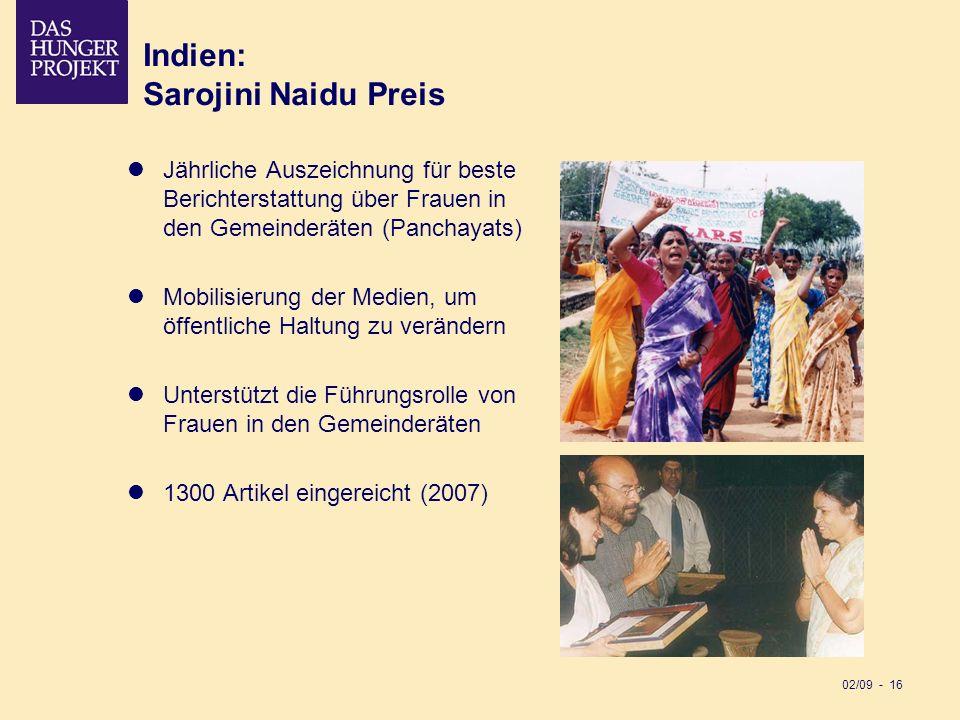 02/09 - 16 Indien: Sarojini Naidu Preis Jährliche Auszeichnung für beste Berichterstattung über Frauen in den Gemeinderäten (Panchayats) Mobilisierung