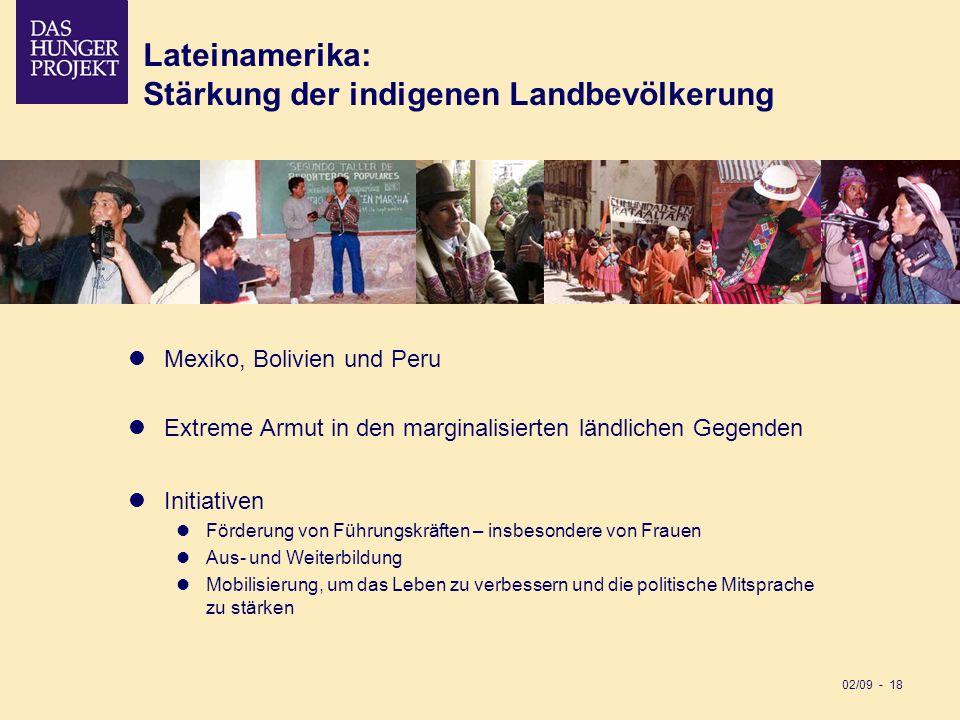 02/09 - 18 Mexiko, Bolivien und Peru Extreme Armut in den marginalisierten ländlichen Gegenden Initiativen Förderung von Führungskräften – insbesonder