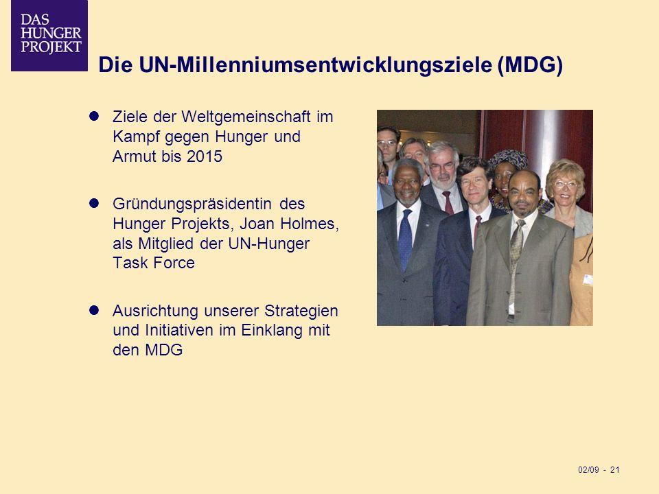 02/09 - 21 Die UN-Millenniumsentwicklungsziele (MDG) Ziele der Weltgemeinschaft im Kampf gegen Hunger und Armut bis 2015 Gründungspräsidentin des Hung