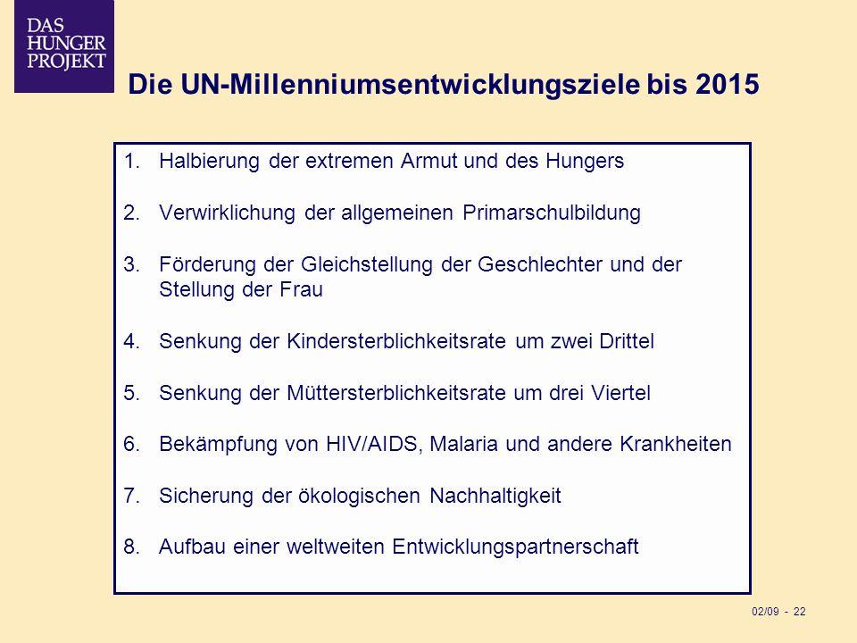 02/09 - 22 Die UN-Millenniumsentwicklungsziele bis 2015 1.Halbierung der extremen Armut und des Hungers 2.Verwirklichung der allgemeinen Primarschulbi