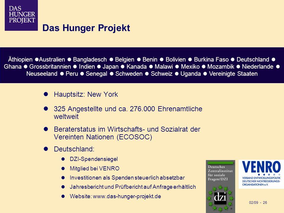 02/09 - 26 Das Hunger Projekt Hauptsitz: New York 325 Angestellte und ca. 276.000 Ehrenamtliche weltweit Beraterstatus im Wirtschafts- und Sozialrat d