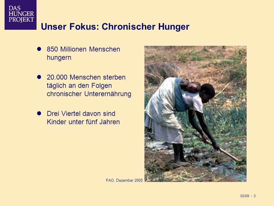 02/09 - 3 Unser Fokus: Chronischer Hunger 850 Millionen Menschen hungern 20.000 Menschen sterben täglich an den Folgen chronischer Unterernährung Drei