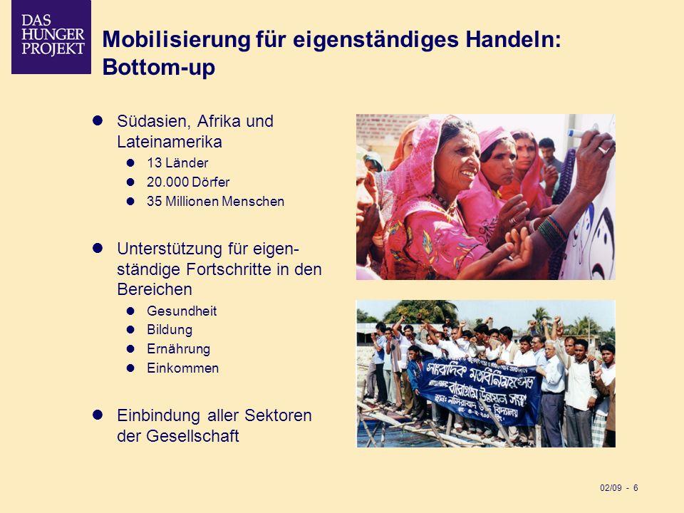 02/09 - 6 Mobilisierung für eigenständiges Handeln: Bottom-up Südasien, Afrika und Lateinamerika 13 Länder 20.000 Dörfer 35 Millionen Menschen Unterst