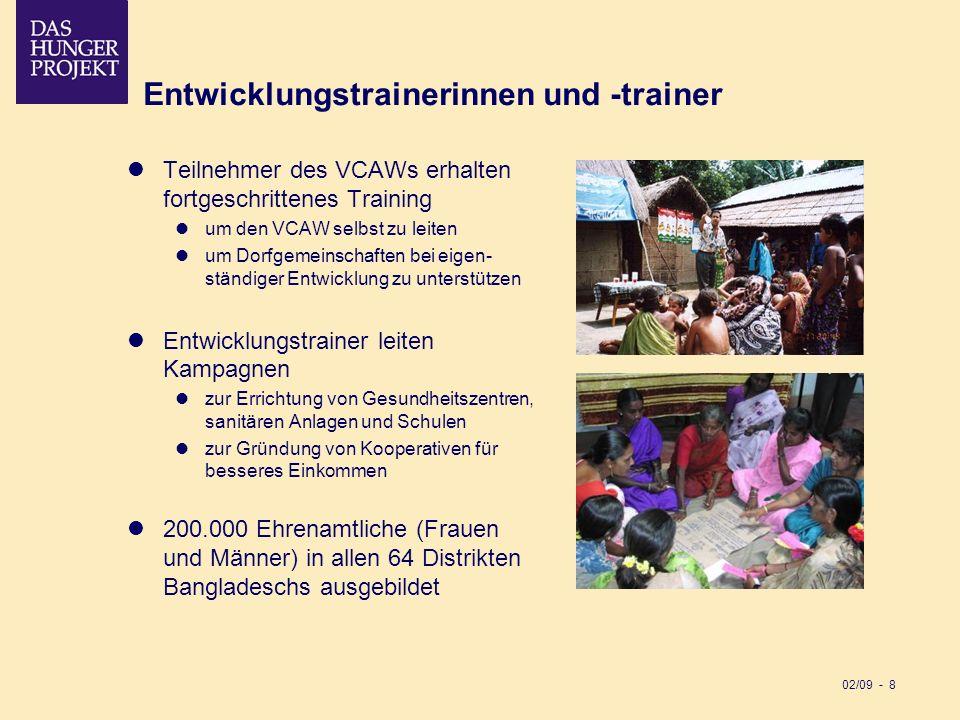 02/09 - 8 Entwicklungstrainerinnen und -trainer Teilnehmer des VCAWs erhalten fortgeschrittenes Training um den VCAW selbst zu leiten um Dorfgemeinsch
