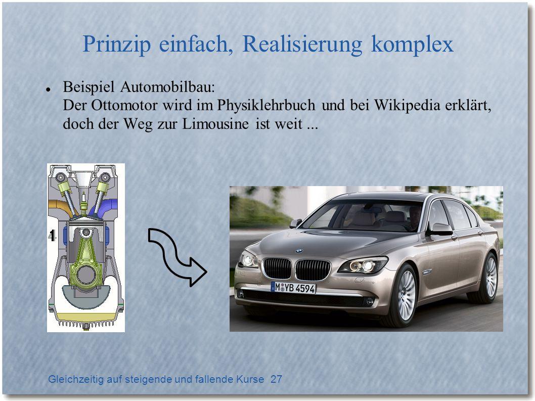 Gleichzeitig auf steigende und fallende Kurse 27 Prinzip einfach, Realisierung komplex Beispiel Automobilbau: Der Ottomotor wird im Physiklehrbuch und bei Wikipedia erklärt, doch der Weg zur Limousine ist weit...