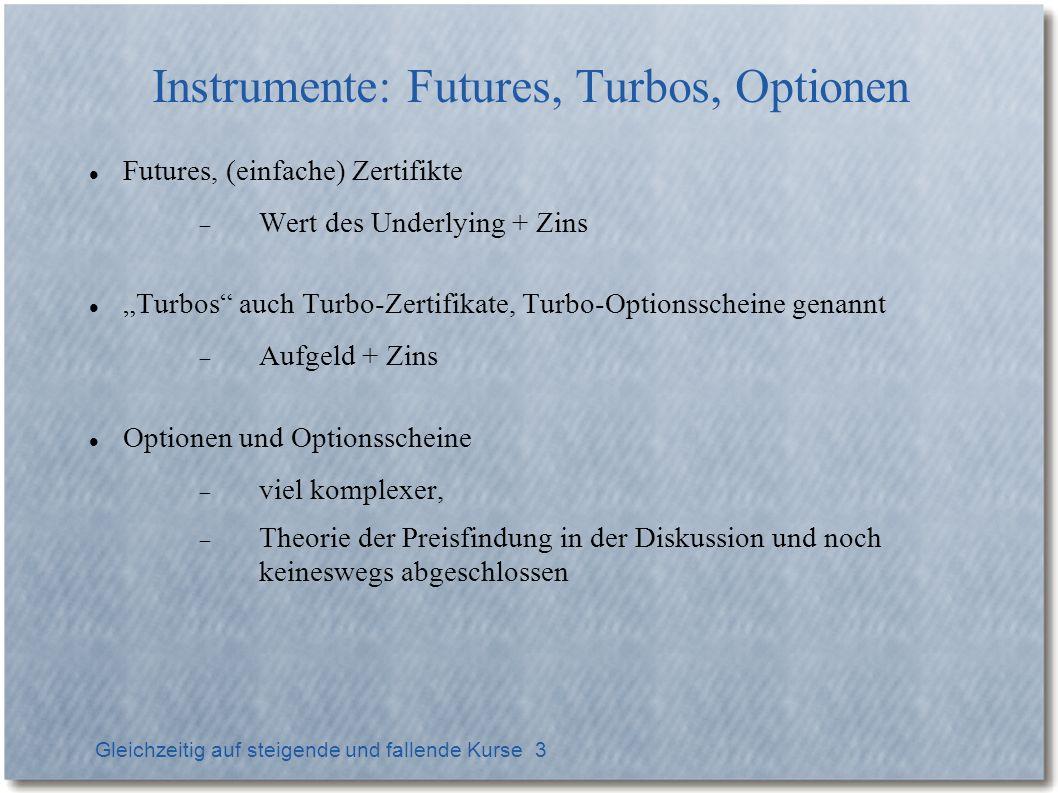 Gleichzeitig auf steigende und fallende Kurse 3 Instrumente: Futures, Turbos, Optionen Futures, (einfache) Zertifikte Wert des Underlying + Zins Turbo