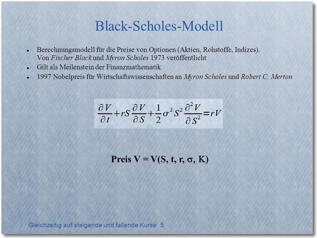 Gleichzeitig auf steigende und fallende Kurse 5 Black-Scholes-Modell Berechnungsmodell für die Preise von Optionen (Aktien, Rohstoffe, Indizes).