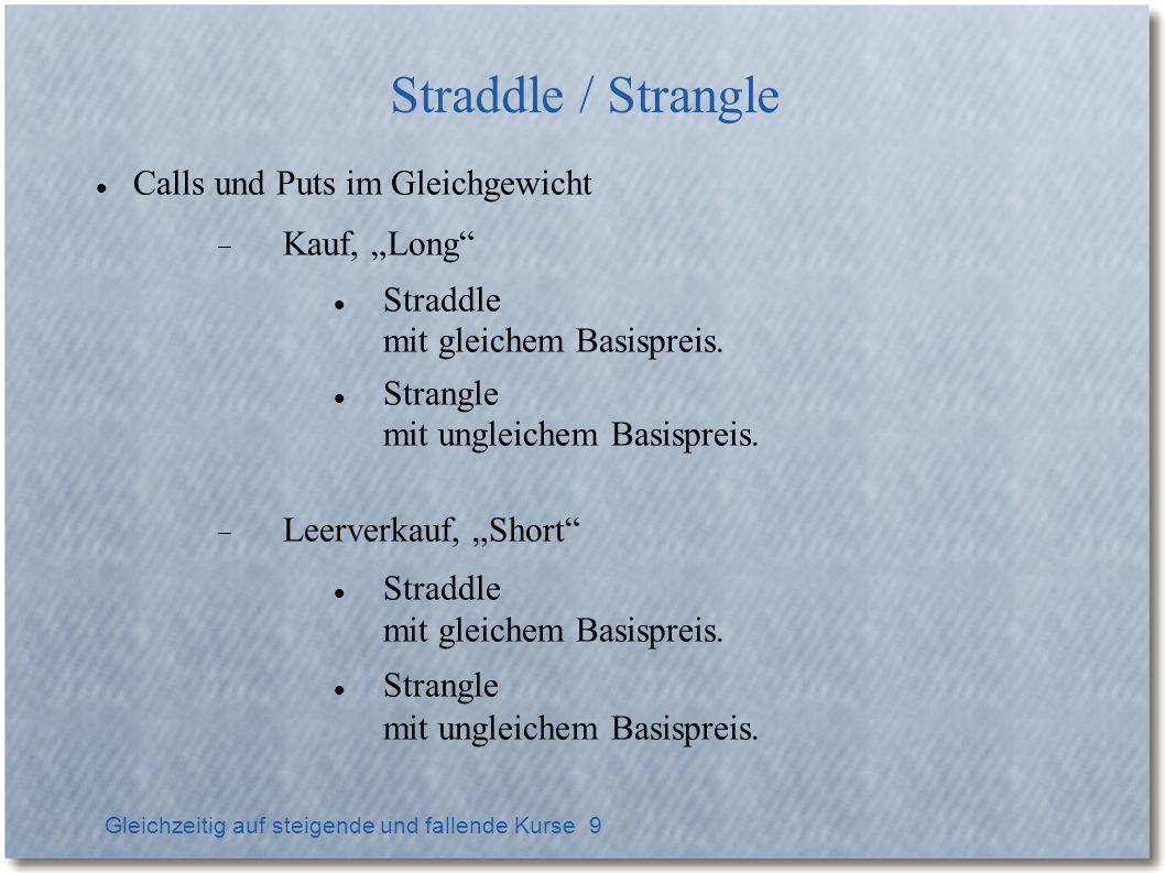 Gleichzeitig auf steigende und fallende Kurse 9 Straddle / Strangle Calls und Puts im Gleichgewicht Kauf, Long Straddle mit gleichem Basispreis. Stran