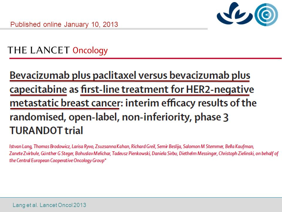 Lang et al. Lancet Oncol 2013 Published online January 10, 2013