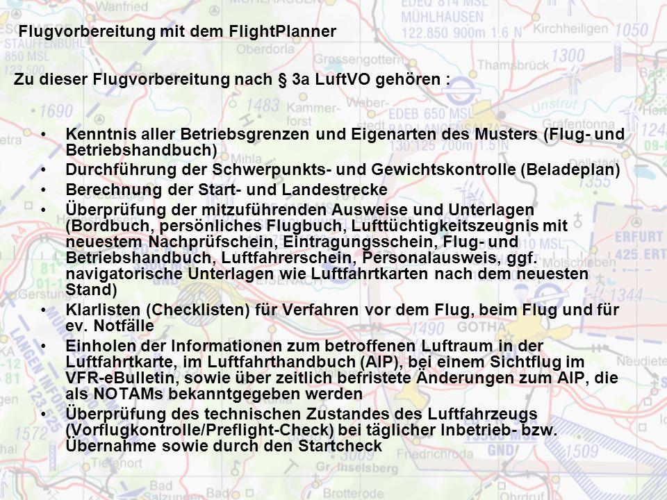 Flugvorbereitung mit dem FlightPlanner Paperload
