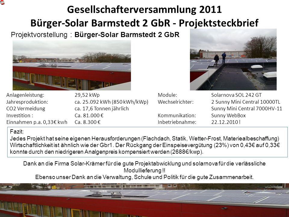 Gesellschafterversammlung 2011 Bürger-Solar Barmstedt 2 GbR - Projektsteckbrief Anlagenleistung: Jahresproduktion: CO2 Vermeidung Investition : Einnah