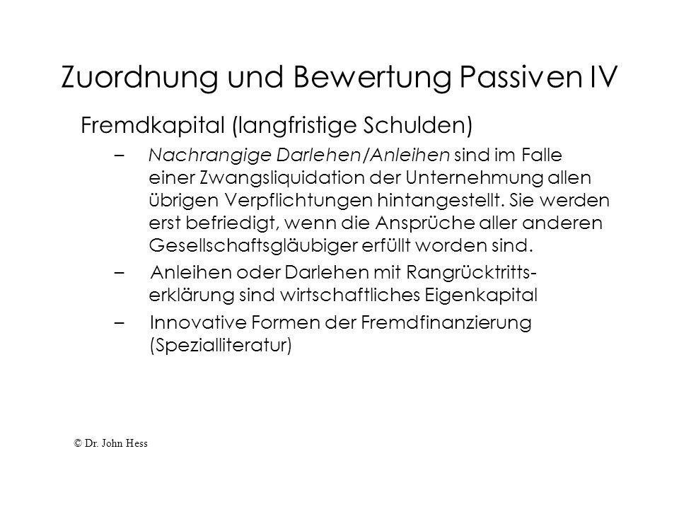 Zuordnung und Bewertung Passiven IV Fremdkapital (langfristige Schulden) – Nachrangige Darlehen/Anleihen sind im Falle einer Zwangsliquidation der Unt