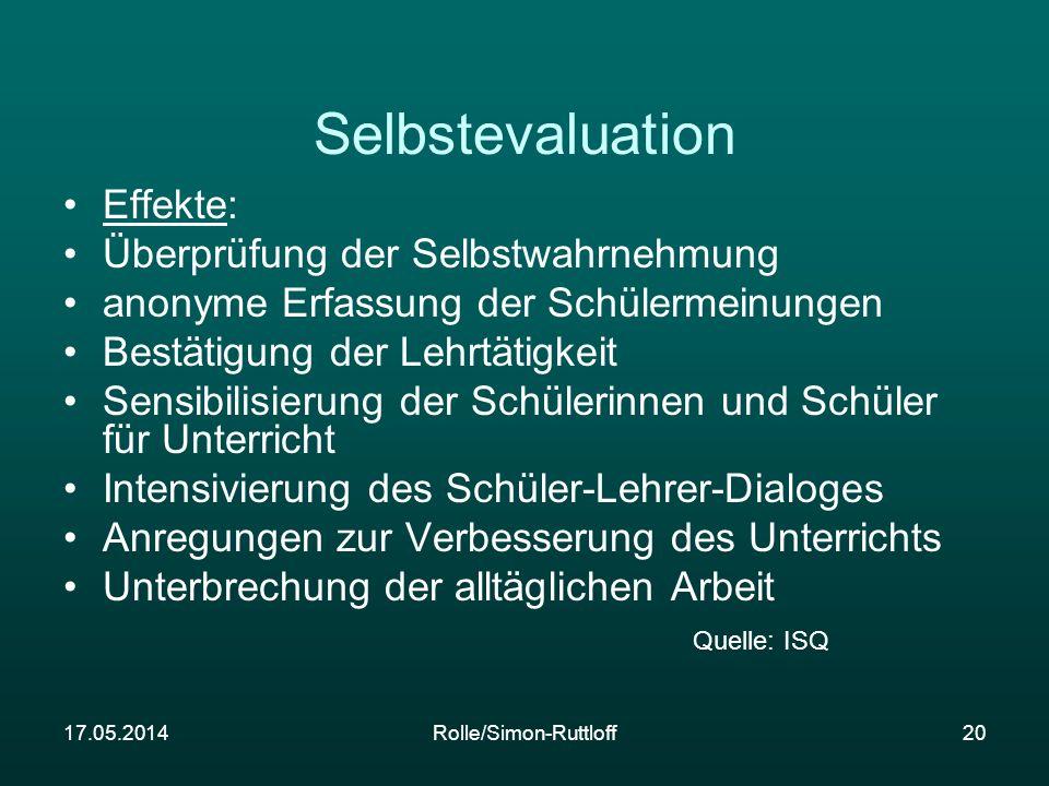 17.05.2014Rolle/Simon-Ruttloff20 Selbstevaluation Effekte: Überprüfung der Selbstwahrnehmung anonyme Erfassung der Schülermeinungen Bestätigung der Le