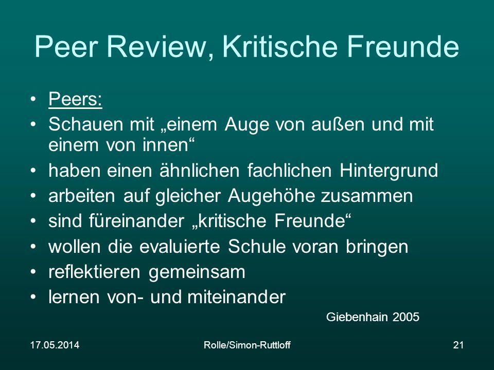 17.05.2014Rolle/Simon-Ruttloff21 Peer Review, Kritische Freunde Peers: Schauen mit einem Auge von außen und mit einem von innen haben einen ähnlichen