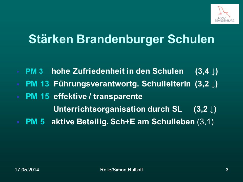17.05.2014Rolle/Simon-Ruttloff3 Stärken Brandenburger Schulen PM 3 hohe Zufriedenheit in den Schulen (3,4 ) PM 13 Führungsverantwortg. SchulleiterIn (