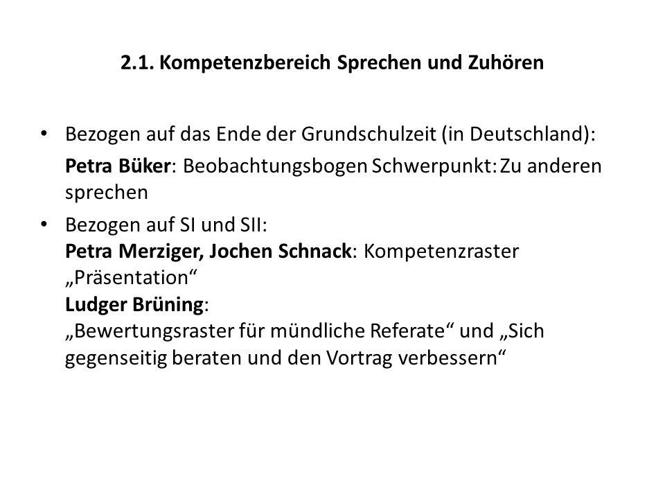 2.1. Kompetenzbereich Sprechen und Zuhören Bezogen auf das Ende der Grundschulzeit (in Deutschland): Petra Büker: Beobachtungsbogen Schwerpunkt: Zu an
