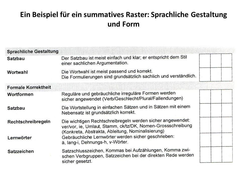 Ein Beispiel für ein summatives Raster: Sprachliche Gestaltung und Form