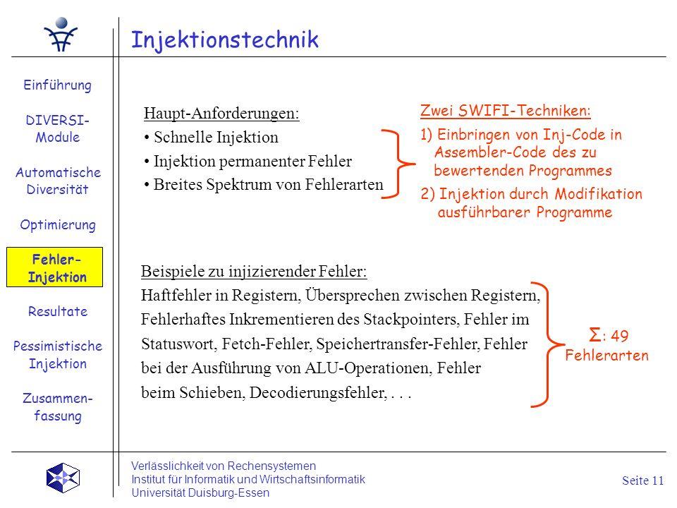 Injektionstechnik Einführung DIVERSI- Module Automatische Diversität Optimierung Fehler- Injektion Resultate Pessimistische Injektion Zusammen- fassun