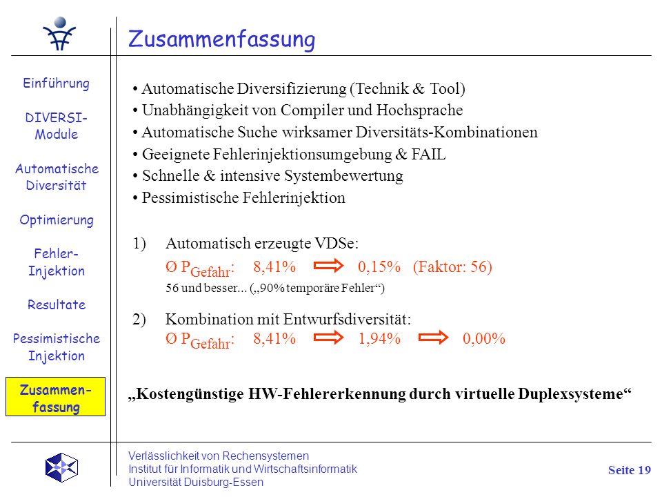 Zusammenfassung Einführung DIVERSI- Module Automatische Diversität Optimierung Fehler- Injektion Resultate Pessimistische Injektion Zusammen- fassung