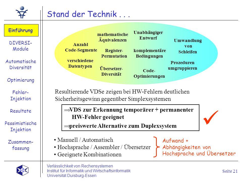Stand der Technik... Einführung DIVERSI- Module Automatische Diversität Optimierung Fehler- Injektion Resultate Pessimistische Injektion Zusammen- fas