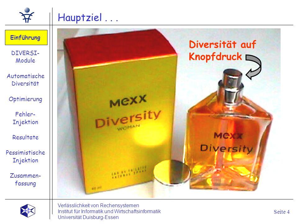 Ziele dieser Arbeit ? Diversität auf Knopfdruck Hauptziel... Einführung DIVERSI- Module Automatische Diversität Optimierung Fehler- Injektion Resultat
