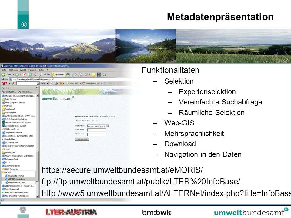 Metadatenpräsentation https://secure.umweltbundesamt.at/eMORIS/ ftp://ftp.umweltbundesamt.at/public/LTER%20InfoBase/ http://www5.umweltbundesamt.at/AL