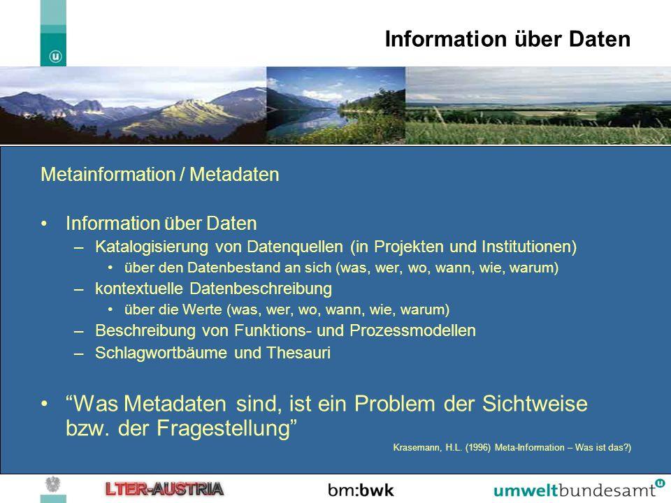 Metadatenpräsentation https://secure.umweltbundesamt.at/eMORIS/ ftp://ftp.umweltbundesamt.at/public/LTER%20InfoBase/ http://www5.umweltbundesamt.at/ALTERNet/index.php?title=InfoBase Funktionalitäten –Selektion –Expertenselektion –Vereinfachte Suchabfrage –Räumliche Selektion –Web-GIS –Mehrsprachlichkeit –Download –Navigation in den Daten
